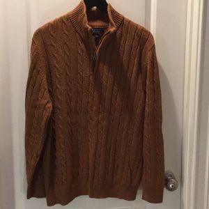 Men's C&B burnt orange 3/4 zip sweater ~ Large